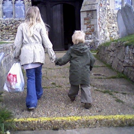 Taken in 2006 | Reg Boatwright's great grand children Isabella and Oliver going to morning service