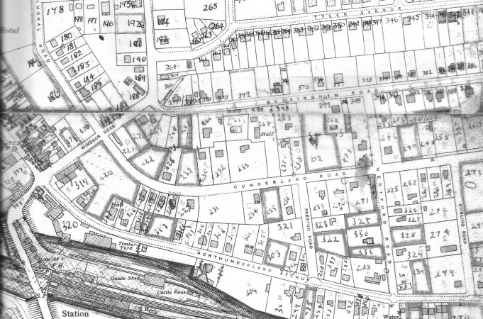 Buckingham Road - BDC 1949 Property Survey Map.  (Two separate pages had to be joined). Plot 264/399 is Tulip Hall. | Ordnance Survey