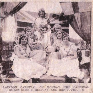 Laindon Carnival Court, probably 1929.  Lizzy Richards in the middle on the right. | Denise Hamilton.