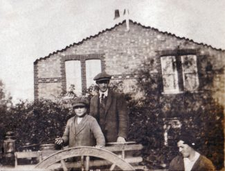 James Richards Snr & Jnr in front of the farmhouse with unknown lady. | Denise Hamilton.