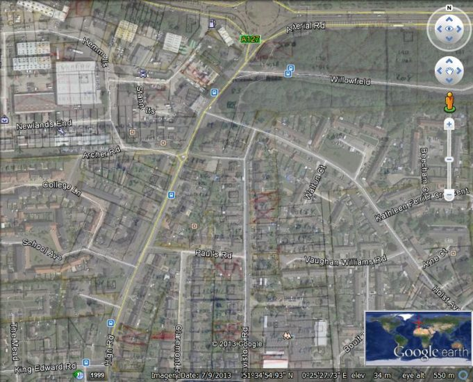BDC survey map superimposed on Google Earth | Ordnance Survey and Google Earth