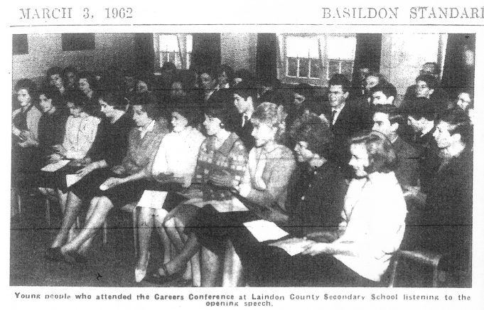 Careers Conference February 1962. Janet Gipson and Nina Burton in the front row. | Basildon Standard