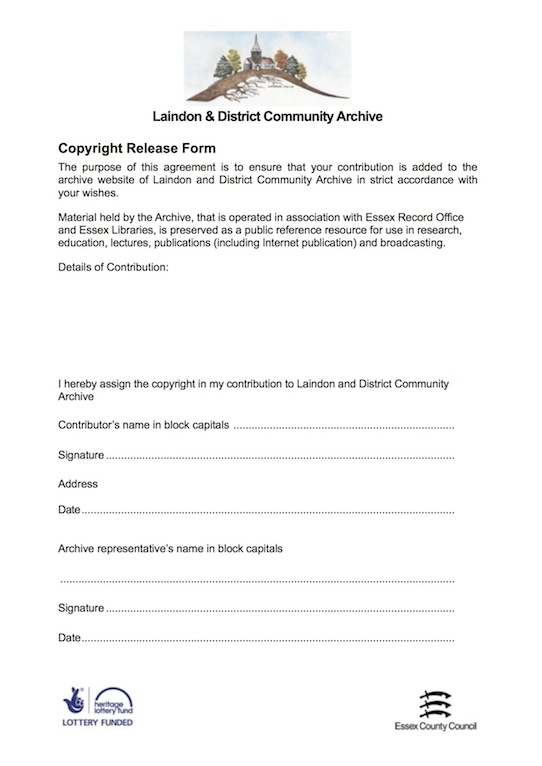 Copyright Release Form  Forms  Laindon  District Community Archive