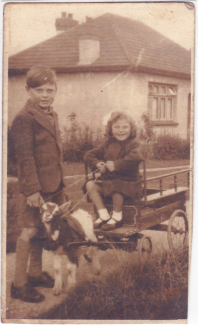 Dave & Val Outside Bank Riggs, Corona Rd., Langdon 1943 | Joan Baterip (née Sarfas)