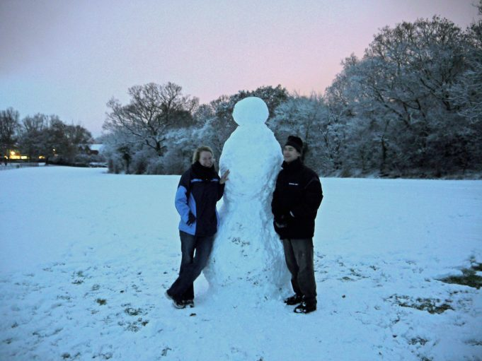 Beratt from Germany and Tim from Heathleigh Estate, Langdon Hills showing off their Snowman in Langdon Hills Recreation ground