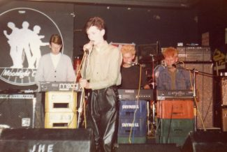 Depeche Mode at an early gig at the Moonlight Club. From left: Andrew Fletcher, Dave Gahan, Martin Gore, Vince Clarke. | By kind permission of Steve Burton (A good friend of Andrew Fletcher).