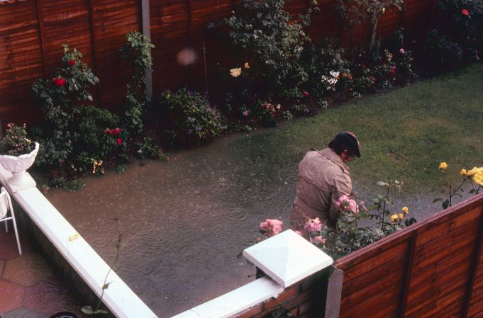 Our neighbour's flooded back garden in Woolmergreen 9th July 1981.   Nina Humphrey