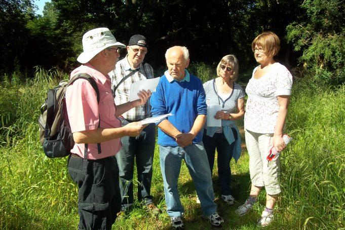 Hearing about the Dornier. From left, Colin Humphrey, Paul Hickman, Bob Springate, Joyce Dean, Pat Hickman. | Nina Humphrey