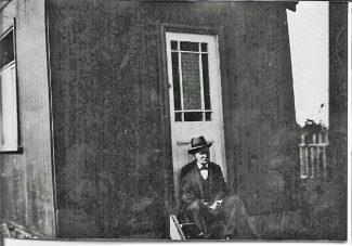 Charles outside old Ebenezer shed   Roger Clark