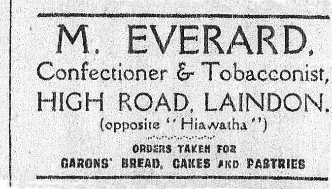 Advertisement in the 1928 Laindon Advertiser. | Ken Porter