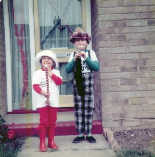 Ready for Queen's Silver Jubilee street party's fancy dress competition, Woolmergreen 1977.   Please note:- We had re-painted the front door yellow. | Nina Humphrey (nee Burton)
