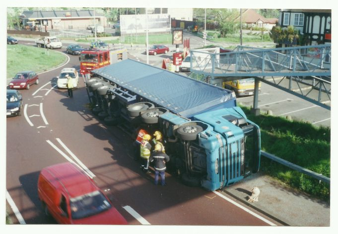 Overturned lorry 2001 | Ann and John Rugg