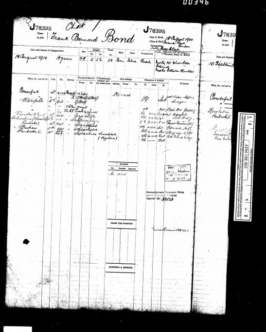 Frank Bond's navy records with the kind permission of his nephew Peter. | Navy records on Ancestry.co.uk