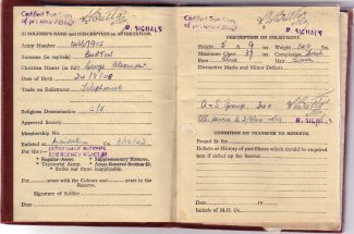 Dad's army book showing the date of his enlistment. (They managed to get his date of birth wrong - he was born on Christmas Eve 1908). | Nina Humphrey