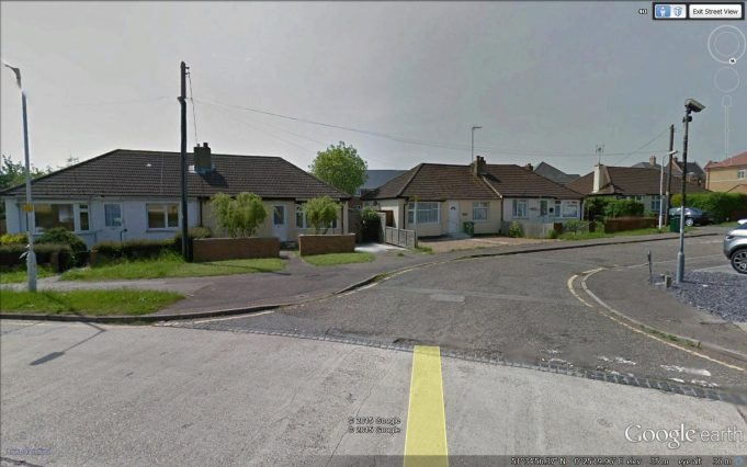 The last six original bungalows left standing in Archer Road (three semis). | Google Earth