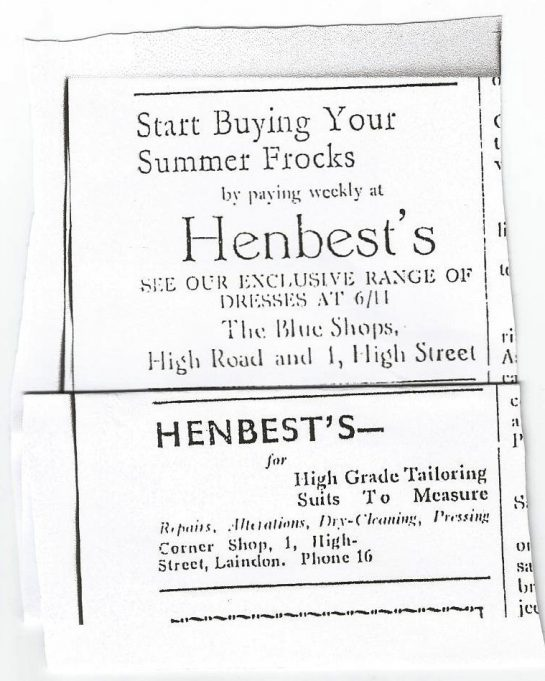 William's clipping of advert from paper