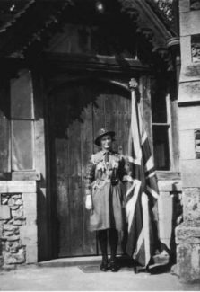 Hilda in her Guide uniform outside St Nicholas Church
