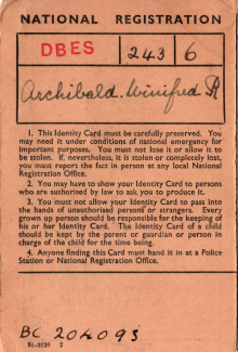 Winifred Archibald's Identity Card