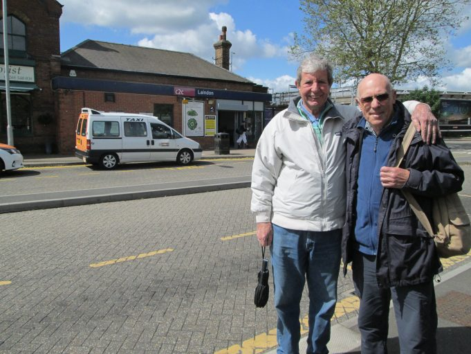 Alan Davies and Jim Grindle outside Laindon Station. | Nina Humphrey (née Burton)