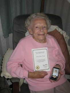 Hilda with her Medal and Certificate recognising her war service at Bletchley Park.