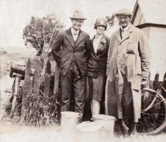 James Richards Snr on the right, Jimmy and Maria Richards with milk churns. | Denise Hamilton.