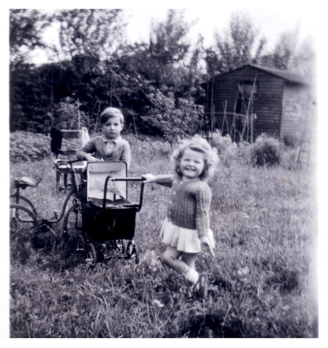 Jill with her cousin David, in their grandparents back garden 'St Michael's. | Jill Barnes (née Adams)