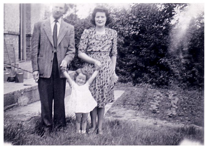 Jill with her parents, Jack and Edith Adams. In the back garden of St Michael's. | Jill Barnes (née Adams)
