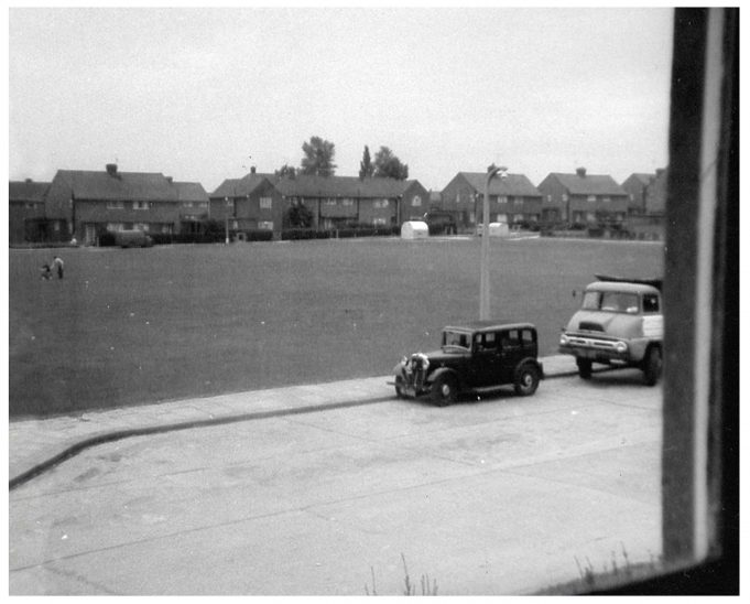 Looking across field to junction of Brook Mead and Powell Road. The car belonged to Ronnie Thomas who lived at number 38 and the lorry was driven by Mr Bert Guy of 42A. | Pam Quarman