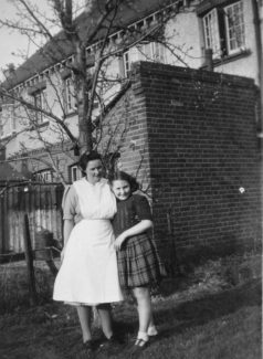 Nurse Broom and her Daughter Brenda in the back garden of the Nurse's Cottage c.1946
