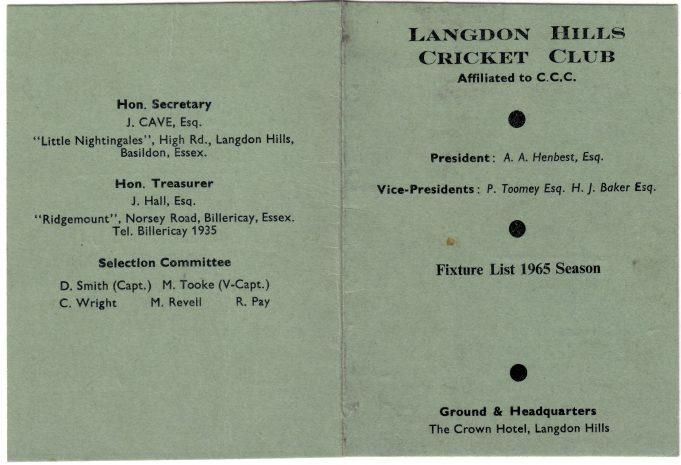 Langdon Hills Cricket Club fixture card 1965 | Langdon Hills Women's Institute