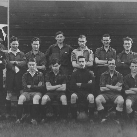 Football Team at Crown Ground (Click on photo to see the names we have and add a comment with additional names) | Fred  Taylor