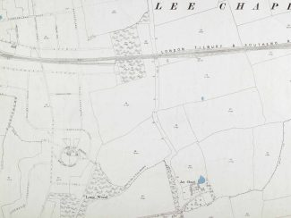 1896 Ordnance Survey map showing Lee Chapel Farm and its pond (coloured blue) in the bottom right-hand section. | Ordnance Survey