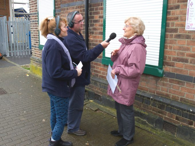 Liana, Mike and Nina chatting about Joan and Laindon Station. | Colin Humphrey