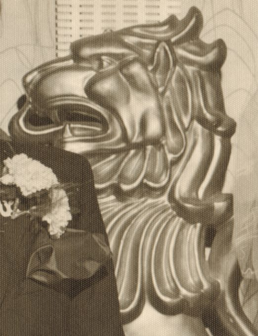 Laindon Community Centre's gold lion at a wedding reception in 1969.