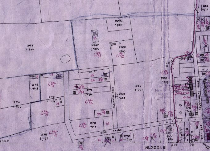 Manor House Estate 1922.  To the west of Devonshire Road, our plot is at the top, middle.  263 was Cooper's orchard.  263a was the Cooper family's bungalow 'The Retreat'.  No 263b was 'Spion Kop, my family's home.  No. 25. was 'Pendennis' where my mother's parents, Henry and Jessica Devine lived.  24. Rosedene where the Whitehead family lived.  No 18, was the Richards' farm house.  The circle was the very large pond in the field next to the farm.  The red curved line at the right of the map shows an old ancient right-of-way.  No 267 was the Top Field, owned by the Richards' family which provided a short cut to our home in the summer.   Ordinance Survey Office
