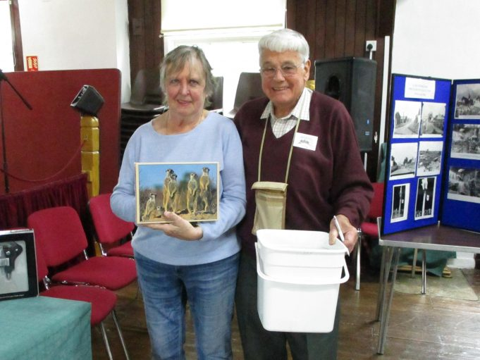 Joan Baterip (nee Sarfas) with her raffle prize zigsaw.  John Rugg with the bucket of raffle tickets. | Nina Humphrey (nee Burton)