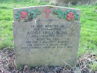 Head Stone of Agnes Emily Monk at St Nicholas Churh