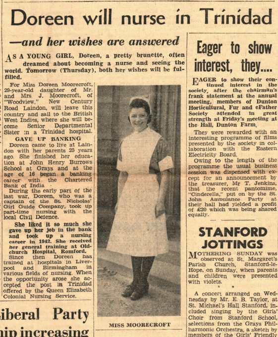 Doreen Moorcroft 7th March 1951 | The Laindon Recorder