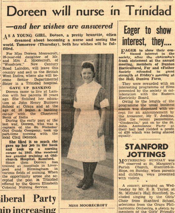 Doreen Moorcroft 7th March 1951 | The Laindon Recorder