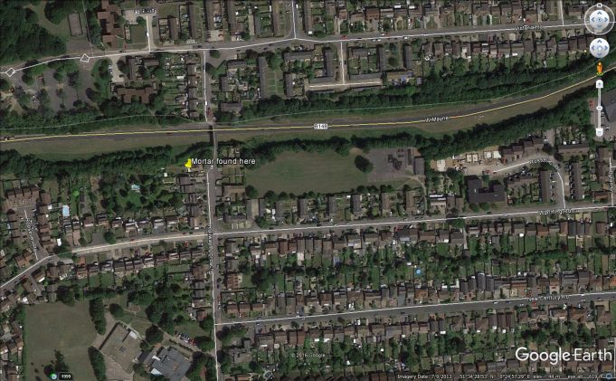 Google earth view showing where the mortar shell was found | Colin Humphrey