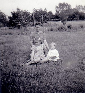 Me with my mum Jessica and baby sister Nina.  Photo taken in  1947, the front garden of Spion Kop about a year after I met Sylvia.  Artillery View was just behind the Poplar trees on the right side of the picture. | Nina Humphrey