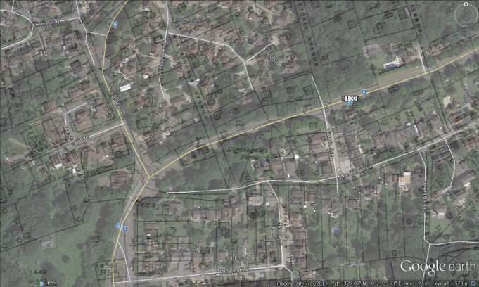 Google Earth image with 1949 survey map superimposed | Googel Earth / Ordnace Survey