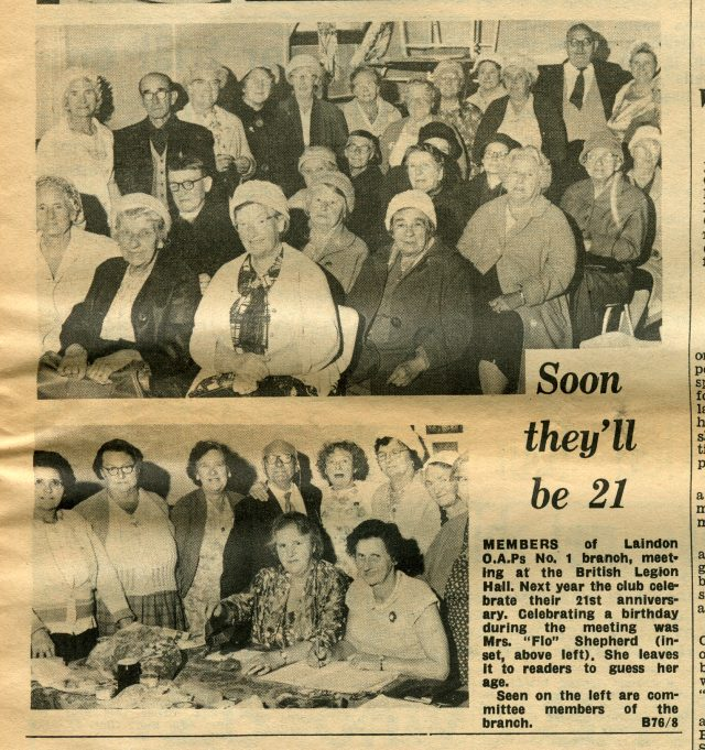 My Nan, Jessica Devine, top picture, front row in check dress and white cardigan. | Laindon Recorder 1966