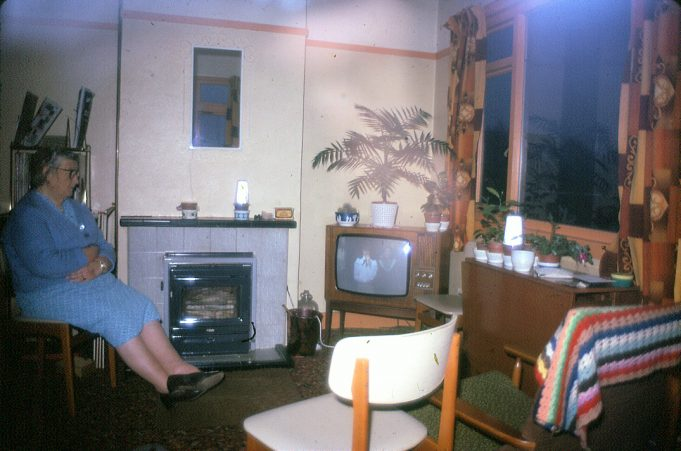 My nan Jessica Devine and a very early colour TV set in the living room at Spion Kop.  (We're pretty sure she's watching Kim Braden in Anne of Green Gables which was broadcast in 1972.) | Nina Humphrey