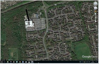 Overlay map showing then and now.  The black line indicates where Colony View Road used to be in relation to the Tesco Stores.   Ordance Survey and BDC 1949 Survey.