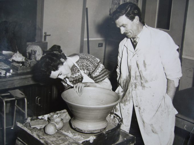 The pottery wheel photo is of Mr George Miniken helping Ann Bullimore in 1961 at the youth centre evening class. | Ann Rugg née Bullimore