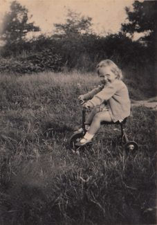 Spring 1948 - Me on my first bike in garden at Northumberland Avenue just before we moved | Patsy Mott (née Tyler)