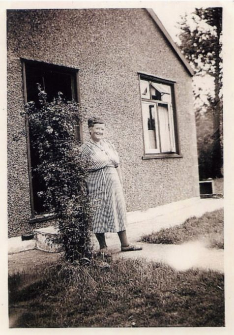 Jessica Devine in front of Pendennis approximately 1950.