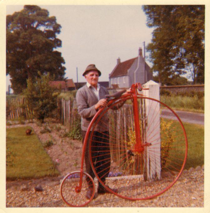 Bertie Peters and his Penny-farthing in Methwold, Norfolk. | Anne Burton