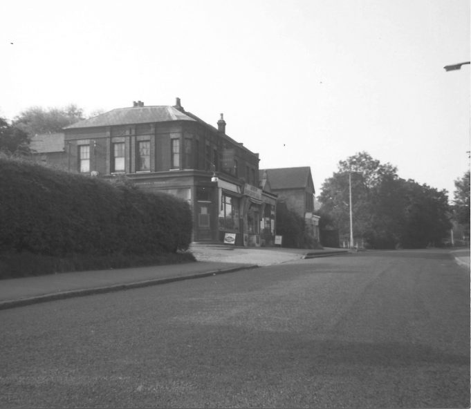 Nightingale Parade, Langdon Hills. Elsey's off licence, sweet shop, boot menders, Doll's Hospital, Baptist Hall, Crowe's butchers.